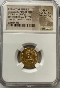 Byzantine GOLD Constans II Coin!  HIGH GRADE MINT STATE!  Very Low Price!
