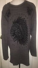 Affliction REVERSIBLE Thermal Shirt Mens XL Long Sleeve Distressed Skull Chief