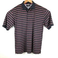 Tommy Hilfiger Mens Shirt Size XL Polo Navy Red Striped Short Sleeve XLarge