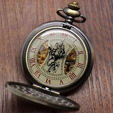 Bronze Copper Retro Luxury Men's Mechanical Hunter Chain Traveller Pocket Watch