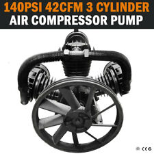 NEW 42CFM 3 Cylinder Full Cast Iron Air Compressor Pump 140PSI