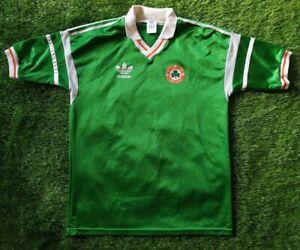 IRELAND 1988/1990 L SIZE ADIDAS FOOTBALL PLAYERS SHIRT JERSEY VINTAGE