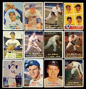 1957 Topps Lot of (14) New York Yankees & Brooklyn Dodgers PR-GD/VG