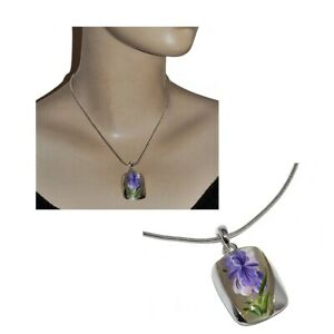 VIENNOIS Collier plaqué argent maille serpent pendentif fleur iris peinte bijou