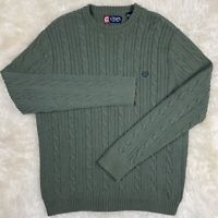 CHAPS 100% COTTON Cable Knit Pullover Sweater Size M Medium Solid Green