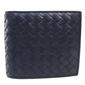 BOTTEGA VENETA Intrecciato Bifold Wallet Conpact Wallet Leather Navy