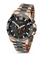 SEKONDA MEN'S BLACK & ROSE GOLD PLATED CHRONOGRAPH WATCH MODEL 1006 RRP £119.99