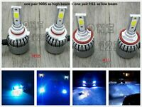 9005+H11 Combo LED Headlight Bulbs Kit High Low Beam 8000k ICE BLUE 55W 8000LM