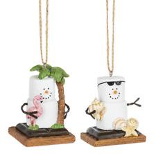 Smores Coastal Flamingo Palm Shells Coastal Christmas Holiday Ornaments Set of 2