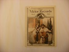 Original Victor Phonograph Record Catalog - March, 1921