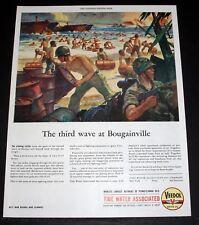 1944 WWII MAGAZINE PRINT AD, VEEDOL MOTOR OIL, MARINES LAND ON BOUGAINVILLE ART!