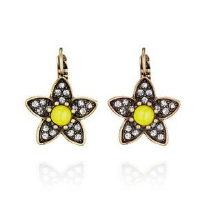 NEW Urban Anthropologie Adora Flower Yellow  Rhinestone Rustic Gold Earrings