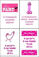 PERSONALISED HEN NIGHT PARTY BEER WINE BOTTLE LABELS 8 or 21 Per Sheet