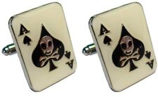 Ace of Spades Skull & Crossbones Military Death Biker Metal Enamel Cufflinks NEW