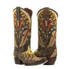 Womens Brown Feathered Embroidered Leather Cowgirl Boots Western Snip Toe
