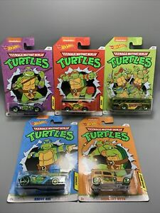 Nickelodeon TMNT Hot Wheels 2020 Teenage Mutant Ninja Turtles Complete Set of 5