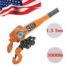 Portable Chain Lever Block Hoist Come Along Ratchet Lift 1.5T 3000lb Capacity