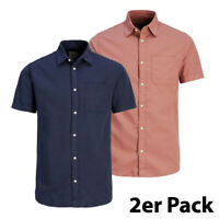 2er Pack Gr. S Jack & Jones Herren LIAM Regular Fit Kurzarm Hemd Shirt 12125507
