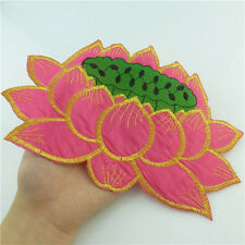 89626 Pink Lotus Seedpod Embroidered Cloth Iron on Patch Sew Sequin Appliques