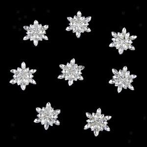 10x Crystal Rhinestone Flower Flatback Buttons Wedding Embellishments Silver