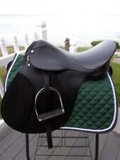 18'' BLACK LEATHER ENGLISH A/P saddle wide w LEATHERS & IRONS & 2 horse bits