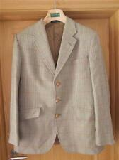 Vintage Mens Check Tweed Jacket Country Blazer Shooting Wool Leather Buttons
