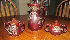 Japanese Japan Tall Tea Pot Teapot 2 Sugar Bowls Hand Painted Red Clay Redware