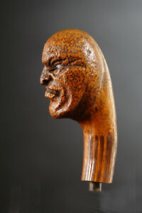 CARVED WOOD CANE HANDLE POWERFUL SCARIFIED HEAD FOLK ART ANTIQUE