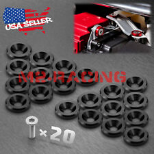 20PC Black CNC Billet Aluminum Bumper Fender Washer Engine Bay Dress Up Kit