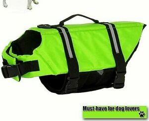 Paws Aboard Life Vest Jacket for Dogs Neon Yellow Reflective Handle Sz Sm/Md