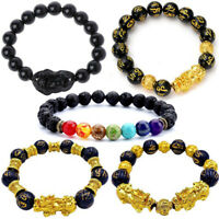 Feng Shui Black Obsidian Pi Xiu Wealth Bracelet Attract Wealth & Good Lucky Gift