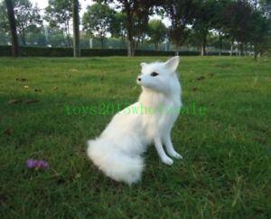 White Fox Plush Doll Toy Simulation Lifelike Decoration Fauxfur Animal Toy Gift