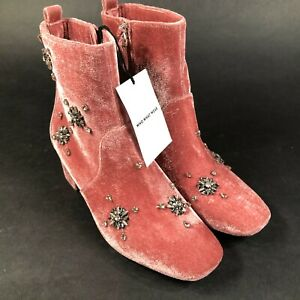 Who What Wear Ankle Boots Pink Alessia Embellished Velvet Block Heel Size 8.5