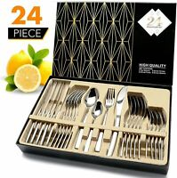 24Pc Stainless Steel Flatware Sets with Gift Box Knife Fork Spoon Cutlery Sets
