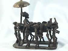 African Art Nigeria Bronze Sculpture Royal Carried In Carriage