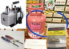 R410a, Refrigerant Professional Service Kit, 5 lb, Color Coded Gauge Vacuum Pump