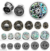 0G-3/4'' Steel Flower Abalone Shell Life Tree Ear Gauges Tunnels Plugs Expander