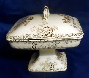 Antique PB&S Powell, Bishop & Stonier Chelsea Brown Pedestal Covered Compote