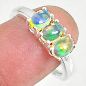 New Arrival 2.70cts Natural Multi Color Ethiopian Opal Oval Ring Size 8 R83970