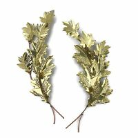 Vtg Lot Of 2 Distressed Copper Brass Maple Fall Leaf Mid Century Wall Hangings