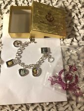 Premier Designs Retired Charm Bracelet Silver Plated + 5 Photo Frame Charms 7.5""