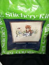 New listing Crewel Embroidery Stitchery Kit Woodland Babies Kitten Duck Complete 1980