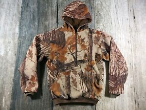 Cabelas Dry Plus Fall Camo Fleece 3/4 Zip Hooded Pullover Jacket