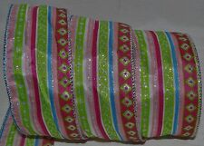 Wired Ribbon~Jazz Hot Pink Spring Stripe~Dot~Blue~Green~Sil ver~Gift~Bow~Wreath
