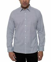 Kenneth Cole Men Shirt Blue Large L Triangle-Printed Stretch Button Down $79 191
