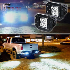 Pair 24W Spot LED Cube Pods Work Lights Flush Mount Off-Road Truck Jeep ATV 4''