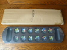 Mancala Board Game Set with Dark Wooden Board Multi Color Glass Beads