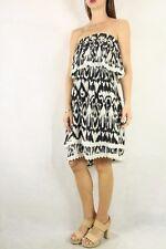 LOVE SAM Silk Black White Tribal Printed Strapless Dress Size XS 8