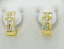 WHITE SAPPHIRES HUGGIE EARRINGS 14K YELLOW GOLD * Made in USA * NWT*