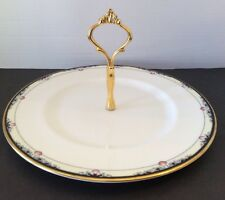 """Royal Doulton Rhodes Round Serving Plate w/ Gold Handle 10"""" England China EUC"""